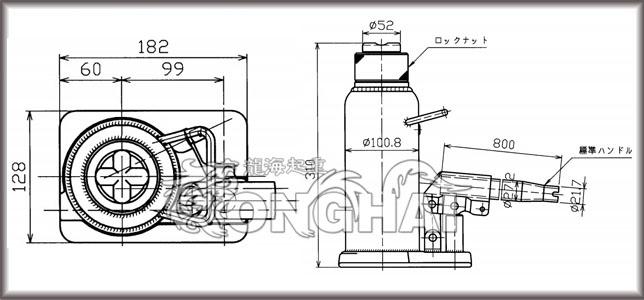 马沙达mh-20l自锁式油压千斤顶结构尺寸图
