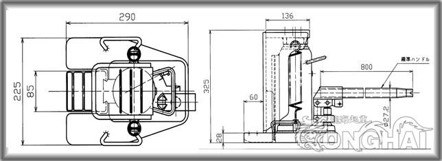 mhc-10rs-2爪式千斤顶结构尺寸图