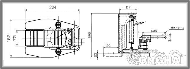 mhc-3sl-2鸭嘴型油压千斤顶结构尺寸图